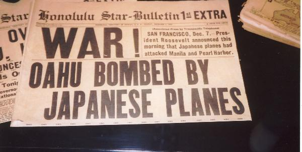 "WAR!  OAHU BOMBED BY JAPANESE PLANES - Honolulu Star-Bulletin 1st EXTRA Edition on December 7, 1941.<br /> <br /> Above photo illustrates Radioman, Chapter 8 (""The Attack on Pearl Harbor""), page 66<br />                            Source of Photo:  Ted and Marie Wigton Collection"