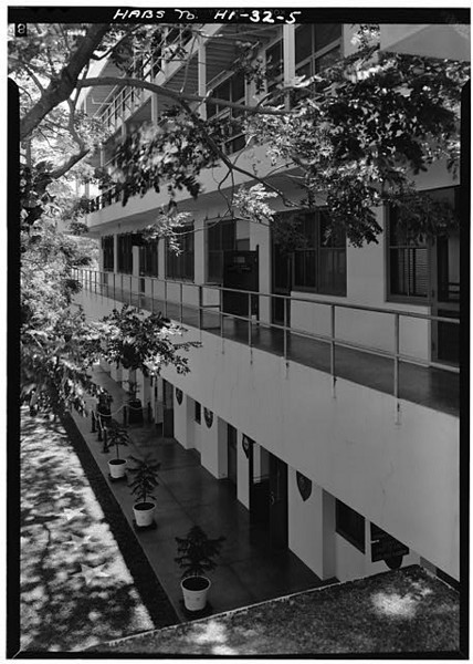 CINCPAC/CINCPACFLT Headquarters Building, Makalapa Drive, Honolulu HI.  Looking toward North end, (Oblique View). July, 1966.