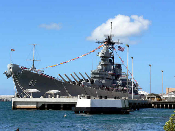 USS MISSOURI BB-63 at Battleship Row, Pearl Harbor Hawaii.