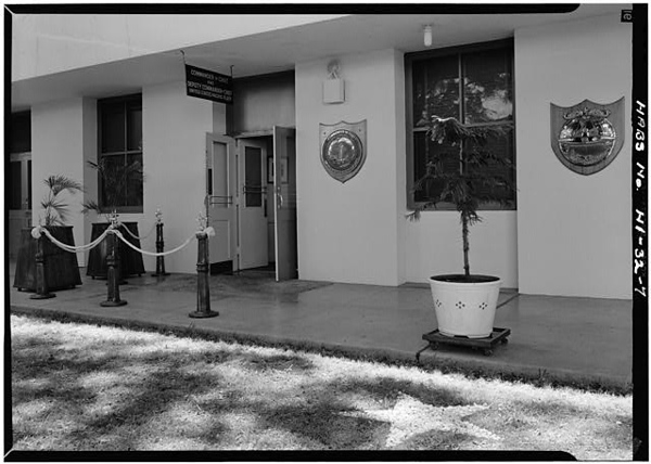 CINCPAC/CINCPACFLT Headquarters Building, Makalapa Drive, Honolulu HI.  Entrance Northwest Front. July, 1966