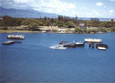 USS ARIZONA BB-39 Memorial as it appeared in the 1950's.