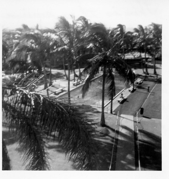 Pool in Front of Sub Base Barracks Taken From Third Floor front lanai (center section of the building) where CINCPAC/CINPACFLT was berthed.