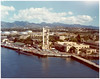 Sub Base Pearl Harbor - Harbon view.  Sub Base Barracks 654 Paquet Hall, (U shape) in center overlooking training towner.  This was the location for CINCPAC in 1941.  Photo date possibly 1950's (?).