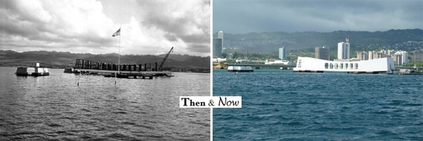 USS ARIZONA BB39 - Then and Now Photos of USS ARIZONA BB39 Memorial Pearl Harbor HI.