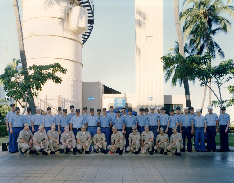 US SUB BASE Pearl Hartbor - Submariners posed in front of the Escape Training Tower.  Photo dated March 1988.