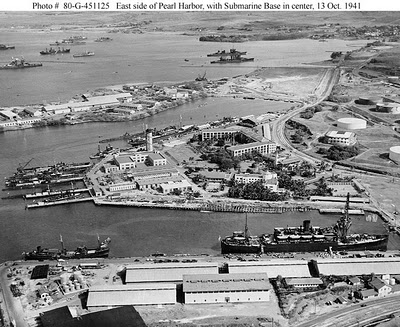 Sub Base Pearl Harbor - East side view.  Sub Base Barracks 654 Paquet Hall, (U shape building) in center overlooking training towner.  This was the location for CINCPAC in 1941.  Photo dated October 13, 1941.