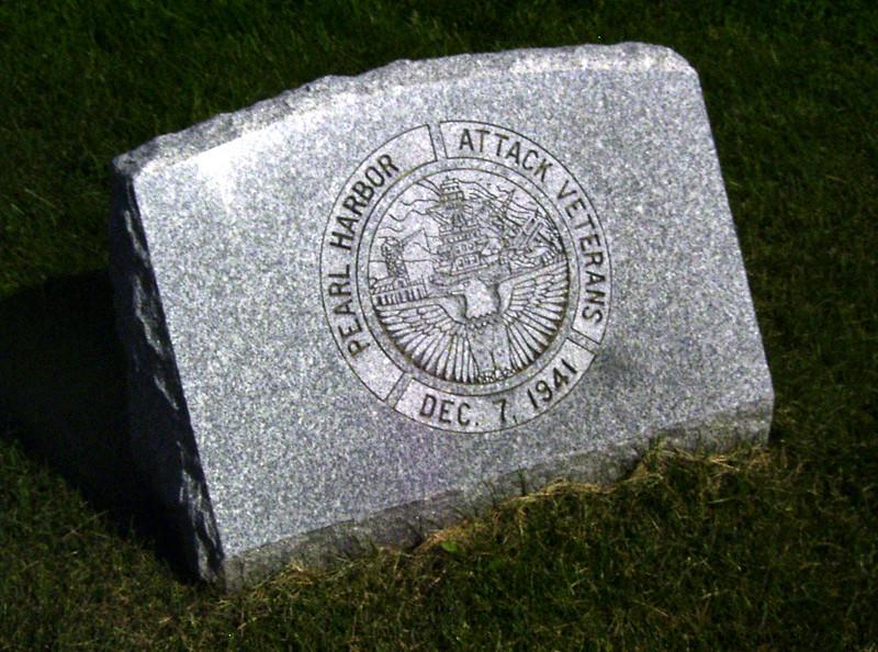 Memorial Stone at Agawam Massachusetts Veterans Cemetary dedicated to the PEARL HARBOR ATTACK VETERANS - December 7, 1941.