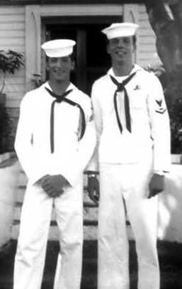 """Sub Base Chapel Pearl Harbor HI - Robert Negrotti (Boston MA); Dennis O. Bartholomew (Brooklyn NY).  Two """"Cool 50's Guys"""".  Dennis was doing the 'moon walk' well before Michael Jackson entered the picture!"""