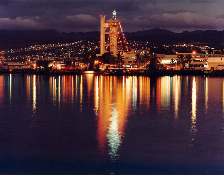 US SUB BASE Pearl Harbor - Escape Training Tower decorated with Christmas lights.  Photo date unknown (Possibly mid 1950's).