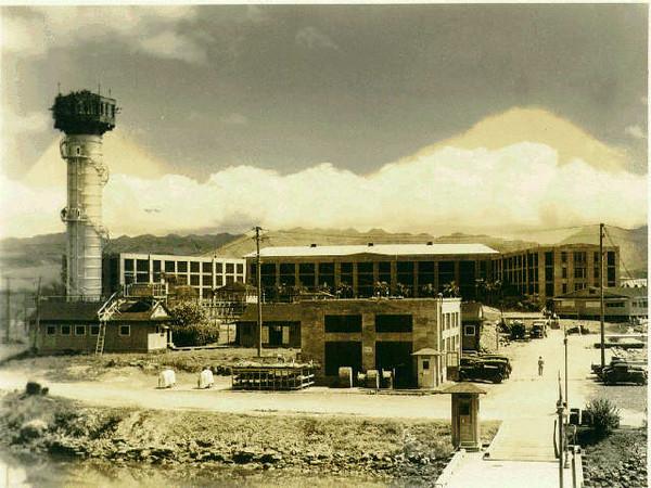654 Paquet Hall, fron submarine docks.  Photo probably circa 1930's.