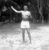 "BELLOWS FIELD BEACH PARTY.  ""Me Tarzan!"" - Robbie (Jack) Robinson CINCPACFLT."