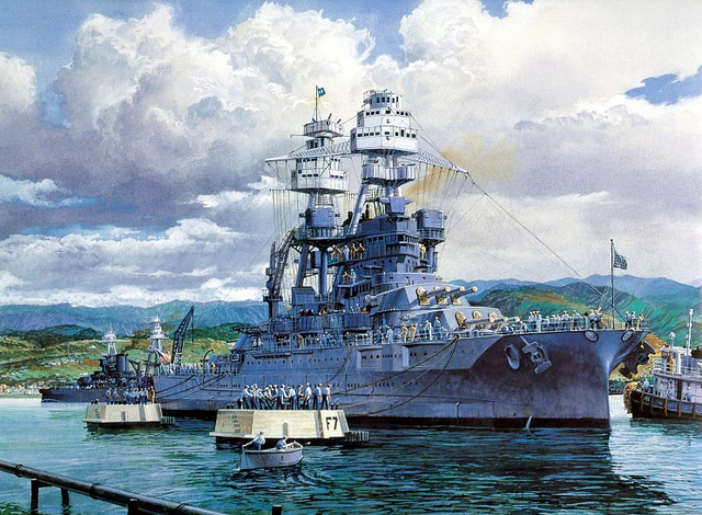 USS Arizona BB-39 on Battleship Row, Pearl Harbour.<br /> <br /> A lovely painting showing USS Arizona BB-39 on battleship row, Pearl Harbour a few days before the 7th December 1941 attack which saw her destroyed.