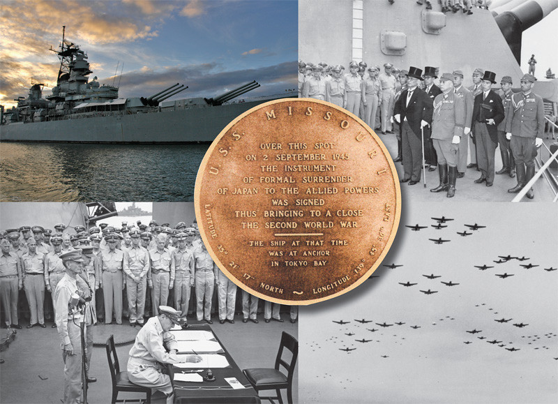 "Top right clockwise: Japanese signatories arrive on board. The ceremonies concluded with the breathtaking sight of 450 carrier planes in formation. General Douglas MacArthur signs the Japanese Instrument of Surrender. The USS Missouri standing proud.<br /> <br /> <br /> ""The USS MISSOURI BB-63  -  Latitude 35 degrees 21' 17"" North  -  Longitude 139 degrees  45' 36"" East"".<br /> <br /> ""Over this spot on 2 September 1945 the instrument of formal surrender orf Japan to the Allied Power was signed thus bringing to a close the Second World War.  The Ship at that time was at anchor in Tokyo Bay"".<br /> <br /> <br /> The Surrender Ceremony of Japan took place on September 2, 1945.  It was held in the morning aboard the USS Missouri in Tokyo Bay.<br /> <br /> At 9:02 a.m., General MacArthur opened with an inspiring statement, hoping for ""a better world… a world dedicated to the dignity of man and the fulfillment of his most cherished wish for freedom, tolerance and justice.""<br /> <br /> Soon after, Foreign Minister Shigemitsu signed the Japanese Instrument of Surrender.  Next was General Umezu, and General MacArthur who let the Allied delegations in signing.<br /> <br /> President Truman stated, ""From this day we move forward… toward a new and better world of peace and international good will and cooperation."""