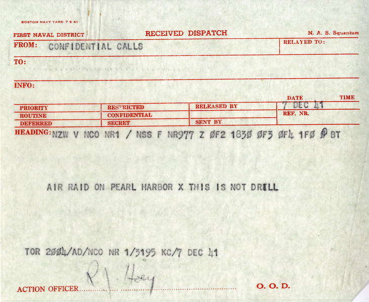 "Radiogram to military installations of the air raid on Pearl Harbor December 7, 1941. <br /> <br /> This document is held by the National Archives and Records Administration at Waltham MA. <br /> <br /> ""A date which will live in infamy. . ."" President Franklin D. Roosevelt address to Congress, December 8, 1941. <br /> <br /> On December 7, 1941, the U.S. naval base on the island of Oahu, Hawaii, was attacked by Japan. In less than 2 hours, the U.S. Pacific Fleet was devastated, and more than 3,500 Americans were either killed or wounded. The incident triggered a mobilization for war. On December 8, the United States declared war against Japan; on December 11, Germany and Italy declared war against the United States. <br /> <br /> This small, short document symbolizes and foreshadows the events and world climate that would define the last half of the twentieth century. <br /> <br /> (Check out National Archives and Records Administration for more details)."