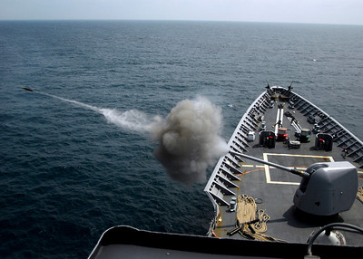 """080727-N-4236E-131 ATLANTIC OCEAN (Jul. 27, 2008) A 5"""" MK45 Mod 2 Light Weight Gun participates in a live fire exercise aboard the guided-missile cruiser USS Vella Gulf (CG 72). Vella Gulf is participating in a Joint Task Force Exercise(JTFEX) 08-4 as a part of the Iwo Jima Expeditionary Strike Group(ESG). The Iwo Jima ESG is made up of Vella Gulf; the amphibious assault ship USS Iwo Jima (LHD 7); the amphibious dock landing ship USS Carter Hall (LSD 50); the amphibious transport dock ship USS San Antonio (LPD 17); the guided-missile destroyer USS Ramage (DDG 61); all homeported at Norfolk, Va.; the guided-missile destroyer USS Roosevelt (DDG 80), homeported at Mayport, Fla.; and the fast attack submarine USS Hartford (SSN 768), homeported at Groton, Conn. U.S. Navy photo by Mass Communication Specialist Seaman Chad R. Erdmann (Released)"""