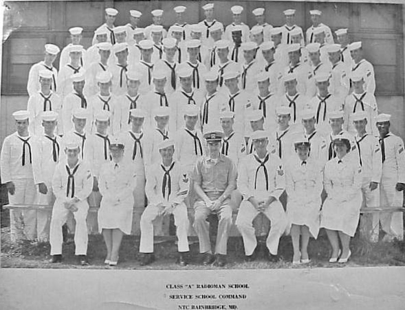 "Tim Bonelli  - First row standing, second from left.  Graduating Radioman Class ""A"" Class 13-59 - NTC Service School Command, Bainbridge MD.  June 19, 1959."
