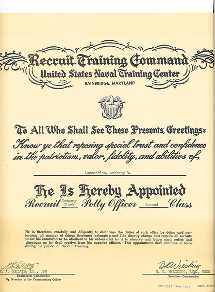 Anthony D. Lupacchino - Appointment to RTC Rank of Company Clerk Second Class Petty Officer - August 1955.