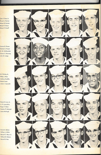 1955 THE COMPASS -- Photos of Company Recruits. <br /> Graduation Annual of USNTC Bainbridge MD Company 359, 2nd Regiment (Camp Perry), 25th Battalion.<br /> August 6th to October 19th, 1955.<br /> <br /> Not In THE COMPASS Annual, but in our Graduation Class Picture: - __?__ COTTON - __?__ LAMBE - __?__ KANOZAK<br /> <br /> <br /> Page -2- Reading From Top to Bottom (Left to Right)<br /> <br /> <br /> John F. FINAN, Jr - Forrest L FURMAN - Robert B. GORDON (BOS'N MATE OF THE WATCH) - Robert F. GRACE - Robert F. GRAEFF<br /> <br /> Charles R. GREEN - Charles S. HARPER - H. W. HOFFSTAETTER - Thmonas F. HORNUNG - John M. JUDGE<br /> <br /> B. F. KIRTLEY, Jr - Phillip J. KLOSS - Anthony KURDILIA - Robert LAUER (RECRUIT CPO) - James I. LIPSCOMB - Robert B. LORE, Jr - Anthony D. LUPACCHINO (COMPANY CLERK) - Robert F. MACK - Stephen P. MATEYAK (Awarded Company Honorman Citation at Graduation Ceremony) - James MCHUGH<br /> <br /> David C. MELLEN - William J. MILLER - Edward C. MOAN, Jr (ATHLETIC P.O.) - Wilford B. NICKENS (1ST  PLATOON LEADER)- Gerard F. NOE (2ND PLATOON LEADER) <br /> <br /> <br /> Recruit Petty Officers of Company 359<br /> <br /> CPO -- Company Commander 	Michael J. BRIGANDE EN1<br /> RECRUIT CPO - 				Robert LAUER<br /> MASTER AT ARMS - 		Richard V. BAKER<br /> COMPANY CLERK - 		Anthony D. LUPACCHINO<br /> GUNNERSMATE - 			C. E. VINCILLETTE<br /> BOS'N MATE OF THE WATCH - 	Robert B. GORDON<br /> EDUCATIONAL P. O. - 		Jack R. SHOPE<br /> ATHLETIC P.O. - 			Edward C. MOAN Jr.<br /> MAIL P. O. - 				Robert G. BARRETT<br /> MAIL P. O. - 				Arlen R. COLLINGS<br /> 2ND PLATOON LEADER - 		Gerard E. NOE<br /> 1ST  PLATOON LEADER - 		Wilford B. NICKENS<br /> GUIDON BEARER - 			Joseph S. WYATT