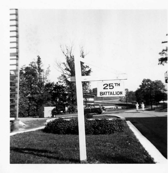 Boot Camp CO 359 2nd Regiment (Camp Perry) 25th Batt. Located Lower Deck Front (Port Side) Barracks 227 - Note Dumpster Watch November 1955 (#196)<br /> <br /> 25th Battalion sign displayed outside of Barracks 227