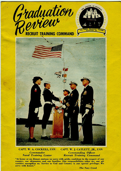 """275th Graduation Review Program USNTC BAINBRIDGE December 15, 1956 - Donated by William R. Culver PN3, on October 16, 2008 his 52nd Anniversary of enlistment into the US NAVY.  <br /> <br /> We salute William R. """"Bill"""" Culver PN3 (Served US NAVY 1956-1967) <br /> October 23, 1956 - December 21, 1956 - Boot Camp Company 160, 1st Regiment, 14th Battalion<br /> 1956 - Heavy Attack Squadron 7 - NAS Sanford FL<br /> 1958 - VAW-33 - NAS Quonset Point RI<br /> 1962 - VW-4 Hurricane Hunter Squadron - Roosevelt Roads, Puerto Rico<br /> 1965 - Fleet Air Reconnaissance Squadron -1 (VQ-1) - NAS Atsugi, Japan<br /> 1967-1992 - USPS (U.S. Postal Service)"""