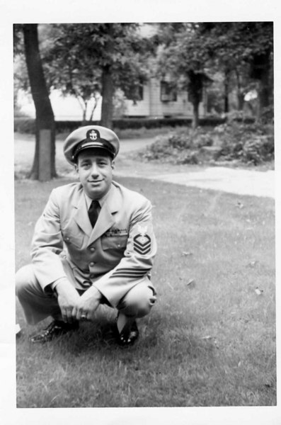 "Boot Camp CO 359 Michael J. Brigande EN1 Company Commander Co. 359 November 1955 (#202)  This is a later photo after he was promoted to CPO.   A tough leader during boot camp, but turned out to be a good friend to us all.  <font color=""#FF0000"">His favorite expression and admonishment to us every day was  "". . .you better be for learnin'. . .""!</font>   On one of his leaves, he came to visit my family while I was in Pearl Harbor HI.  Taken from a bronze marker at burial site of Michael J. Brigande ENCM, U.S. Navy. He served in World War II and the Korean War. Born March 13, 1923, Died November 1, 1985.   Burial is in Section 5, Lot 116 at St. Mary of the Bay Cemetery, Vernon Street, Warren, RI.   I visited his grave site and took this photo on June 24, 2010.  The members of Company 359 salute CPO Michael J. Brigande ENCM and his family!  Tony Lupacchino TE(RM)2 Company Clerk – Company 359 USNTC Bainbridge August 6th – October 19th, 1955"