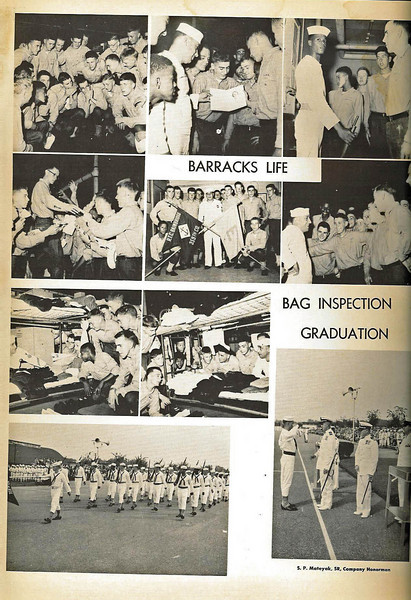 Boot Camp CO. 359 - Michael J. Brigrande, Company Commander -  Barracks 227 November 1955.  <br /> <br /> Page taken from Compass Annual for Company 359 with phots depicting Barracks Life, Bag Inspection and Granduation Ceremonies.