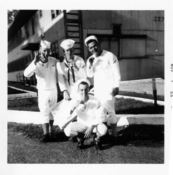 Boot Camp CO. 359 Barracks 227 (Reading Left to Right) 1-Robert Wilson 2-Robert B. Gordon 3-Stephen P. Mateyak 4-Robert F. Grace (kneeling) Received Dog Tags. November 1955 (#191)