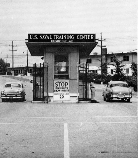 USNTC BAINBRIDGE - Main Gate - 1954.