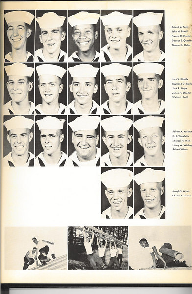1955 THE COMPASS -- Photos of Company Recruits. <br /> Graduation Annual of USNTC Bainbridge MD Company 359, 2nd Regiment (Camp Perry), 25th Battalion.<br /> August 6th to October 19th, 1955.<br /> <br /> Not In THE COMPASS Annual, but in our Graduation Class Picture: - __?__ COTTON - __?__ LAMBE - __?__ KANOZAK<br /> <br /> <br /> Page -3- Reading From Top to Bottom (Left to Right)<br /> <br /> <br /> Roland J. PEPIN - John H. POWELL - Francis D. PROCTOR - George S. QUACKENBOS - Thomas G. QUINN<br /> <br /> Jack V. RIZZOLLA - Raymond G. ROWLAND - Jack R. SHOPE (EDUCATIONAL P. O.) - James N. Shrader - Walter L. TRAILL<br /> <br /> Robert A. VANBRUNT - C.E. VINCELETTE (GUNNERSMATE) - Michael H. WEIN - Henry W. WILDONGER - Robert WILSON - Joseph S. WYATT(GUIDON BEARER and MASCOT)- Charles R. DANIELS<br /> <br /> <br /> Recruit Petty Officers of Company 359<br /> <br /> CPO -- Company Commander -	Michael J. BRIGANDE EN1<br /> Recruit CPO - 				Robert LAUER<br /> MASTER AT ARMS - 		Richard V. BAKER<br /> COMPANY CLERK - 		Anthony D. LUPACCHINO<br /> GUNNERSMATE - 			C. E. VINCELETTE<br /> BOS'N MATE OF THE WATCH - 	Robert B. GORDON<br /> EDUCATIONAL P. O. - 		Jack R. SHOPE<br /> ATHLETIC P.O. - 			Edward C. MOAN Jr.<br /> MAIL P. O. - 				Robert G. BARRETT<br /> MAIL P. O. - 				Arlen R. COLLINGS<br /> 2ND PLATOON LEADER - 		Gerard E. NOE<br /> 1ST  PLATOON LEADER - 		Wilford B. NICKENS<br /> GUIDON BEARER - 			Joseph S. WYATT