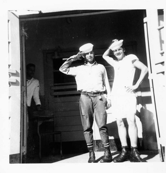Boot Camp CO 359 (Reading Left to Right) 1-Robert Lauer 2-Stephen P. Mateyak (T-shirt & Shorts). 3-__?__ Rayne (CO. 399) hiding in corner - November 1955 (#199)