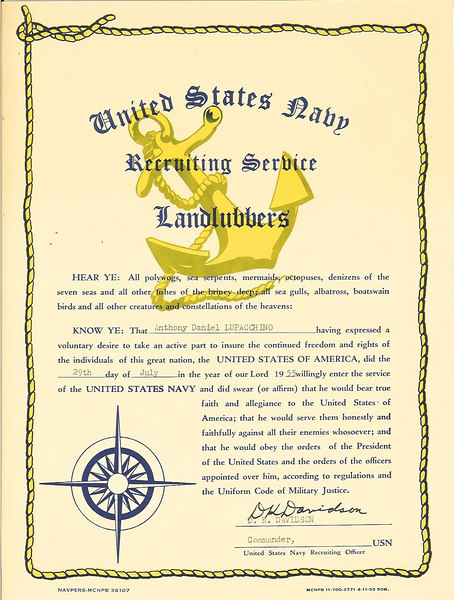Certificate of Voluntary Induction into the NAVY July 29, 1955 at Springfield MA
