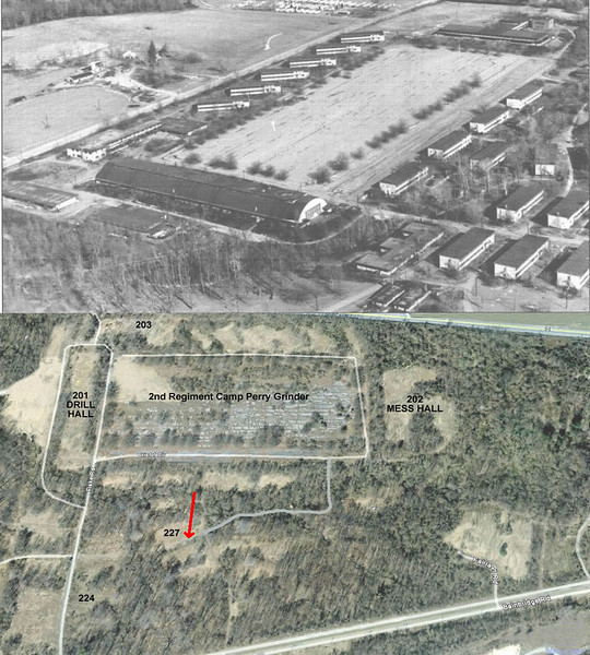 """United States Naval Training Center Bainbridge -- Composite - Aerial 2nd Regiment (Camp Perry) showing Regimental Grinder, flanked by Drill Hall (201) and Mess Hall (202).  Arrow points to the location of Company 359's Barracks 227.  -  from usntcbainbidge blog hosted by Thomas.   <a href=""""http://usntcbainbridgemd.blogspot.com/"""">http://usntcbainbridgemd.blogspot.com/</a>"""