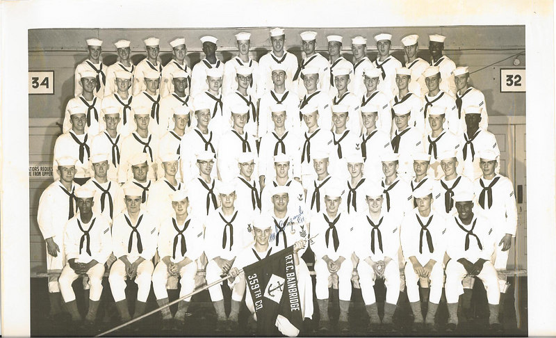 "U.S. NAVAL RTC BAINBRIDGE MD MEMBERS  OF COMPANY 359 2nd Regiment (Camp Perry), 25th Battalion Barracks 227 (Lower Deck - Port Side) Commenced Training - August 6th, 1955 Completed Training - October 19th, 1955   (Missing From Our Graduation Class Picture, But In 1955 THE COMPASS Annual - Photos Of Company Recruits : - Robert A. VANBRUNT)  <strong><font color=""#FF0000""><h3>Anthony D. (Tony) LUPACCHINO - Fourth Row From the Botton, Sixth From the Right.  Appointment to RTC Rank of Company Clerk Second Class Petty Officer - August 1955.  </h3></font></strong>   Reading from left to right:  TOP ROW:  __?__ COTTON;  Walter L. TRAILL;  William J. MILLER;  B. F. KIRTLEY, Jr.; Charles S. HARPER;  Robert B. GORDON;  Robert F. FAGNANT;  Frank A. CELENDER;  Robert F. MACK;  Robert G. BARRETT;  Robert F. GRAEFF;  John M. JUDGE;  James C. BAILEY.  FOURTH ROW:  Gerard E. NOE;  Frederick W. BRUNGES;  William F. COSTELLO;  Wilford B. NICKENS; H. W. HOFFSTAETTER;  Anthony KURDILIA;  __?__ LAMBE;  Anthony D. LUPACCHINO;   Charles H. CURRY; John H. POWELL;  Roland J. PEPIN;  Jack V. RIZZOLLA;  Richard L. ALGER.  THIRD ROW:  Arlen R. COLLINGS;  David C. MELLEN;  Raymond G.  ROWLAND;  Robert WILSON;  Stephen P. MATEYAK;  __?__ KANOZAK;  Thomas G. QUINN;  Thomas F. HORNUNG;  Jack R. SHOPE;  Robert F. GRACE;  Gerald J. CURRAN;  Richard V. BAKER;  Donald DUCKETT.  SECOND ROW:  Henry W. WILDONGER;  Grover EDGE Jr.;  Michael H. WEIN;  Sherwood G. COMBS; Peter M. CARNIGLIA;  Forrest L. FURMAN;  C. E. VINCELETTE;  Charles R. DANIELS;  Charles R. GREEN;  James MCHUGH;  Robert B. LORE;  John F. FINAN, Jr.; Edward C. MOAN, Jr.  FIRST ROW:  Francis D. PROCTOR;  Jacob M. BEHNEY;  George S. QUACKENBOS;  Robert LAUER; M .J. BRIGANDE EN1 (Company Commander);  A.P. CORCORAN, Jr.;  Henry BOUCHER;  Philip J. KLOSS;  James I. LIPSCOMB.  FRONT ROW:  Joseph S. WYATT - (Company Guidon Bearer and Mascot).   <strong><font color=""#FF0000""><h3>We all loved this 'little guy' and he was proud to be our Guidon Bearer.  He made us all look good! </h3></font></strong>   Recruit Petty Officers of Company 359  CPO -- Company Commander 	Michael J. BRIGANDE EN1 RCPO - 				Robert LAUER MASTER AT ARMS - 		Richard V. BAKER COMPANY CLERK - 		Anthony D. LUPACCHINO GUNNERSMATE - 			C. E. VINCELETTE BOS'N MATE OF THE WATCH - 	Robert B. GORDON EDUCATIONAL P. O. - 		Jack R. SHOPE ATHLETIC P.O. - 			Edward C. MOAN Jr. MAIL P. O. - 				Robert G. BARRETT MAIL P. O. - 				Arlen R. COLLINGS 2ND PLATOON LEADER - 		Gerard E. NOE 1ST  PLATOON LEADER - 		Wilford B. NICKENS GUIDON BEARER and MASCOT - 	Joseph S. WYATT"