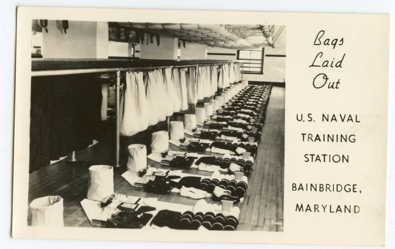 "USNTC BAINBRIDGE Recruit Taining - 1940's Photo - ""Bags Laid Out""."