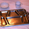 USNTC BAINBRIDGE - Authentic stainless steel dinner tray with compartments possibly used in Chief's Mess Halls.