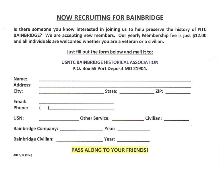 """PRINT THIS APPLICATION AND SEND IN YOUR $12.00!<br /> <br />  The Museum which was previously located in the same building as the SUSKY RIVER GRILLE, 600 Rowland Drive, Port Deposit, MD 21904, HAS MOVED downtown to a NEW LOCATION at the corner of South Main Street and Jacob Tome Highway and will open at 1 p.m. on April 6, 2013.<br /> <br />  USNTC BAINBRIDGE HISTORICAL ASSOCIATION<br />  P.O. Box 65 Port Deposit MD 21904<br /> <br />  SPECIAL EDITION - Winter Newsletter 2012<br /> <br />  To better view the article, click on image and choose 'Original' or 'X3Large' from the size chart.<br /> <br />  BECOME A MEMBER and support the efforts of the USNTC BAINBRIDGE HISTORICAL ASSOCIATION <br /> <a href=""""http://www.cecildaily.com/news/local_news/article_a4ed0360-6999-11e2-923a-001a4bcf887a.html"""">http://www.cecildaily.com/news/local_news/article_a4ed0360-6999-11e2-923a-001a4bcf887a.html</a>"""