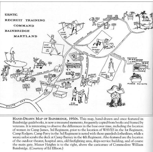 Hand-Drawn Map of USNTC BAINBRIDGE, 1950's as shown in Bainbridge guidebooks.