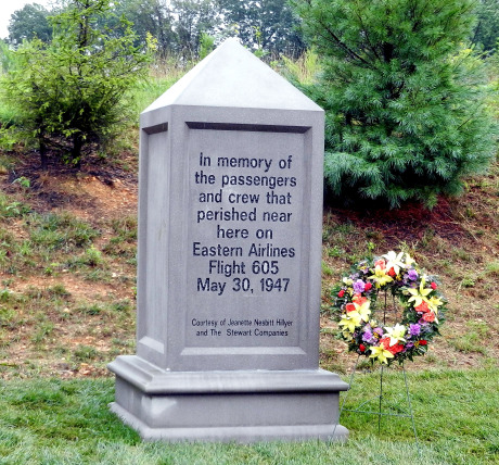 """Eastern Airlines Flight 605 Memorial Marker near Port Deposit MD<br /> <br /> """"In memory of the passengers and crew that perished near here on Eastern Airlines Flight 605, May 30, 1947""""<br /> <br /> """"Courtesy of Jeanette Nesbitt Hillyer and The Stewart Corporation"""""""