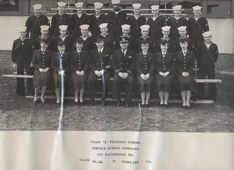 "Members of the Class 10-56<br /> CLASS ""A"" TELEMAN SCHOOL<br /> USNTC BAINBRIDGE, Bainbridge MD<br /> November 14, 1955 to February 17, 1956<br /> <br /> Reading From Left to Right:<br /> <br /> TOP ROW:    Critchfield, School MAA; Lagoy; King; Ballard; Mc Coy; Fijal; LUPACCHINO; Schmeltzer; Young.<br /> <br /> SECOND ROW:    Rohrbeck; Anderson; Haswell; CONNORS; Peden, Section Leader; Seidel; Macollough; Mellen; Woolen; Allison.<br /> <br /> FIRST ROW:    Bronston; Sohn; Grover; Chief O'Dell, TEC, Division P.O.; Mr. Pirozzi, CHRELE, Officer-in-Charge of Class ""A"" Teleman School; Evans; Scydmore; Shell."