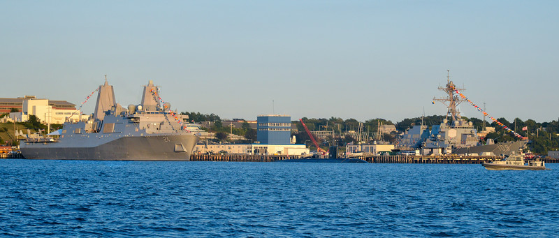 Warships tied up at the Naval Base, Newport, Rhode Island for the International Sea Power Symposium, September 2014. With the objective of promoting mutual understanding among the several leaders of the world's maritime nations, the First International Seapower Symposium (ISS I) was convened at the Naval War College in Newport, Rhode Island on 17–20 November 1969. This four-day symposium was conceived by the President of the Naval War College, Vice Admiral Richard G. Colbert, U.S. Navy, who served as host for the ISS I. The Chief of Naval Operations, Admiral Thomas H. Moorer addressed the meeting.[2] As a result of the success of this symposium, plans were made to continue these discussions as a biennial event. All International Seapower Symposia, since, have been conducted at the Naval War College, and hosted by the incumbent Chief of Naval Operations with only two exceptions. Early fall dates have been selected to take advantage of both the normally good weather and also the relaxed atmosphere in Newport.
