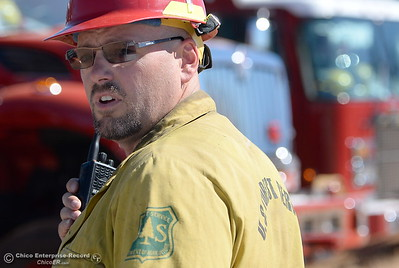A U.S. Dept. of Forestry Firefighter is seen during a fire training simulation at the Neal Indident drill in Paradise, Calif. Wed. June 22, 2016. (Bill Husa -- Enterprise-Record)