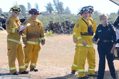 Firefighters await further instructions during a fire training simulation at the Neal Indident drill in Paradise, Calif. Wed. June 22, 2016. (Bill Husa -- Enterprise-Record)