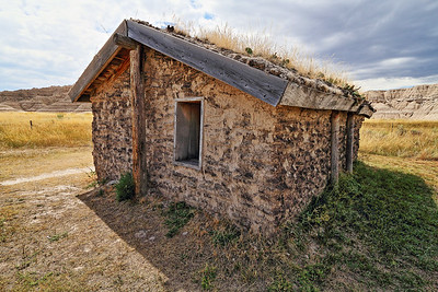 Pioneer sod house replica at Toadstool Geological Park north of Crawford