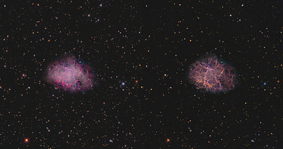 2 Crab Nebulae Left  LRGB     Right HaLRGB