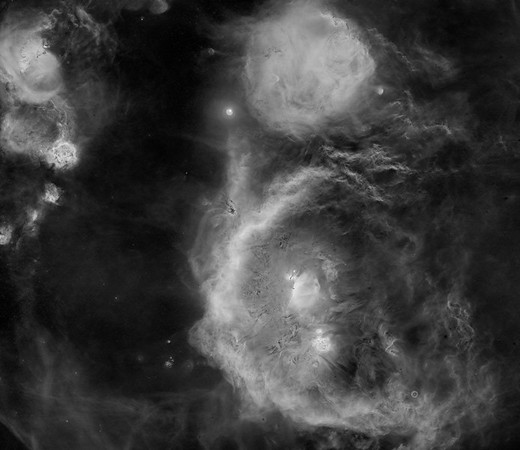 Orion wide field Hydrogen (H-α) panorama From Rosette to Witch Head