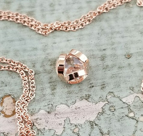 0.56ct Old European Cut Diamond Rose Gold Bezel Pendant