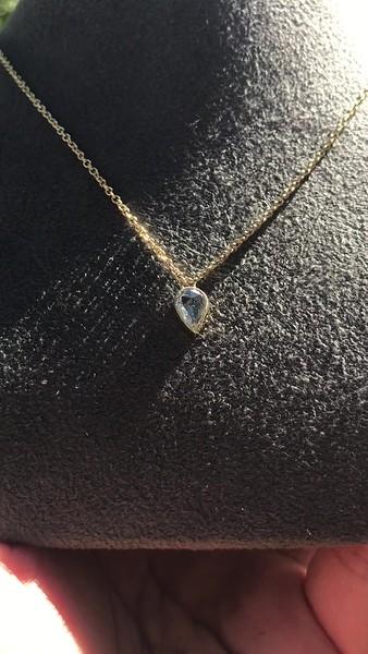 0.58ct Pear Rose Cut Diamond Pendant