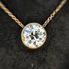 1.20ct Old European Cut Diamond Bezel Necklace (AGS K SI1) 18
