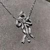 1.98ctw Edwardian Fancy Pave Bow Necklace 16