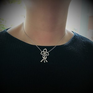 1.98ctw Edwardian Fancy Pave Bow Necklace
